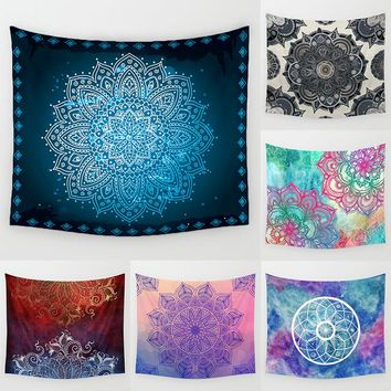 Colorful Beautiful Indian Mandala Geometric Blooming Flower Pattern Polyester Tapestry Wall Hanging Picnic Yoga Rug Homw Decor