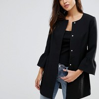 JDY Coat With Frill Sleeve Detail at asos.com