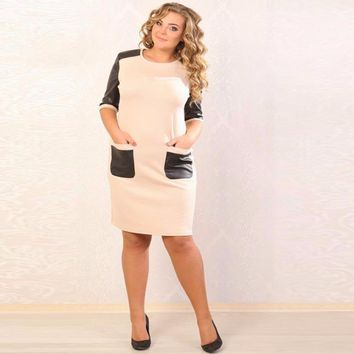Big size 6XL woman dress 2017 Spring half sleeve sexy pocket patchwork dresses fat MM plus size women clothing 6xl dress