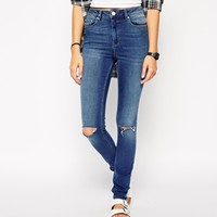 ASOS Ridley High Waist Ultra Skinny Jeans in Melbourne Mid Wash with Ripped Knees