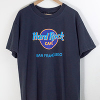 HARD ROCK CAFE tee / san francisco tshirt / sf shirt / retro / grapic tee / wavey / hipster / 90s vintage / mens / xl