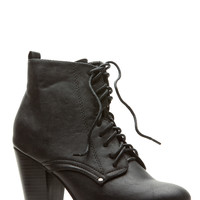 Black Faux Leather Chunky Lace Up Booties
