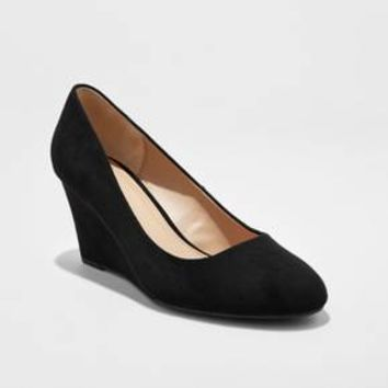 Women's Dot Round Toe Wedge Pumps - A New Day™