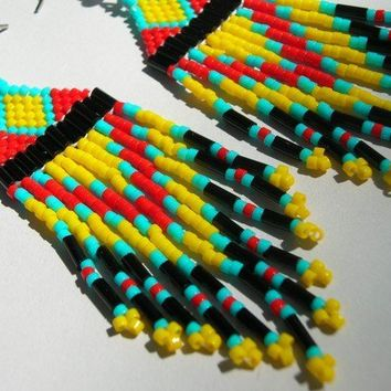 Yellow, Red, Turquoise and Black Indian Style Delica Fringed Seed Bead Chandelier Earrings