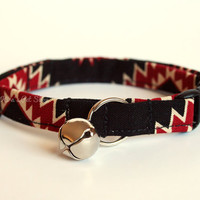 Tribal Cat Collar, Breakaway Cat Collar, Handmade Cat Collar, Boy Cat Accessories, Pet Accessories, Fabric Cat Collar, Black & Red Native