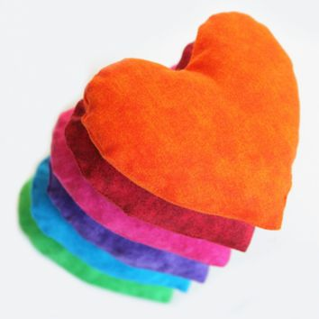 Heart Shaped Rainbow Bean Bags (set of 6) Bright Colored Children's Sensory Toy Homeschool - US Shipping Included
