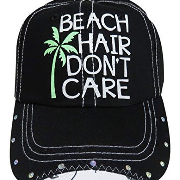 White Glitter Beach Hair Don't Care Black Baseball Cap W/Rhinestones