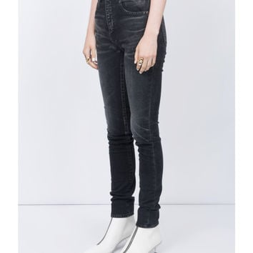 Saint Laurent High Rise Skinny Jeans - Black Cotton Jeans