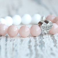 gift for sister present Family bracelets sisters love Birthday pink white bracelet beaded bracelet sister heart bead sister gift ideas jade