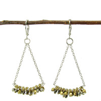 Chain Drop Mixed Metal Beads Earrings