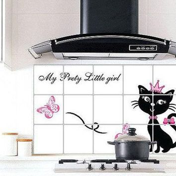 LMFUG3 Oil Proof Wall Paper Decoration Fashion Foil Cats Flower Pattern Kitchen Wall Sticker