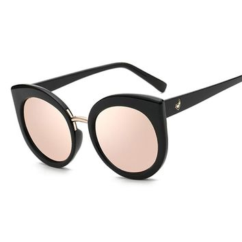 Fashion Oversized Rose Gold Mirror Cat Eye Sunglasses Women Vintage Sun Glasses For Ladies Female