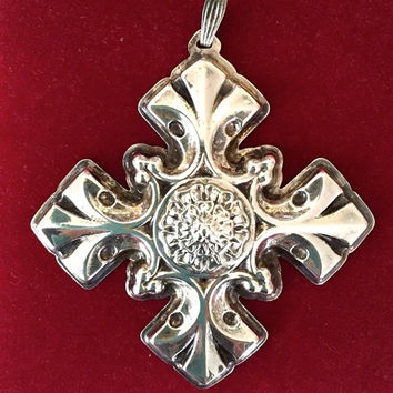 Sterling Silver Reed and Barton Celtic Cross, Large Cross Pendant, Christmas Ornament, 1976, Collectible Sterling Silver,