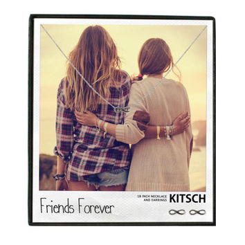 Kitsch Friends Forever Necklace & Earring Set Silver - 16 inches