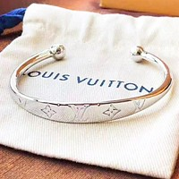 LV Louis vuitton Fashion new monogram personality women opening bracelet accessory Silver