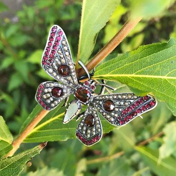 Antique Silver Pearl and Garnet Butterfly Brooch