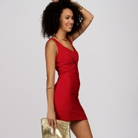 Red V-neck Banded Bodycon Dress
