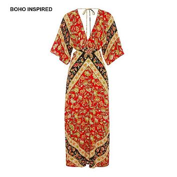 Boho Inspired Babushka Printed maxi dress kimono style sleeves plunging V-neck backless sexy summer dresses women vestidos 2017