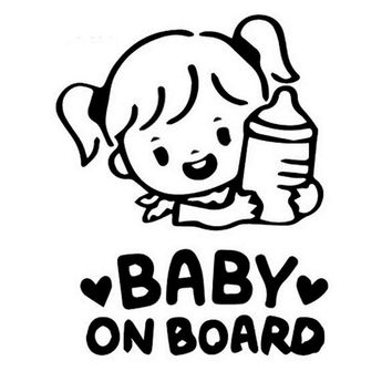 12.7*16CM BABY ON BOARD Cartoon Cute Little Girl Hold A Bottle Car Styling stickers Window Decal Black/Silver C9-0021