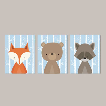 Boy Nursery Art, Woodland Nursery Art, Woodland Animals Nursery Decor, Woodland Baby Shower, Baby Blue Nursery, Set Of 3 Prints Or Canvas