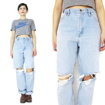80s 90s LEE Jeans Ripped Knee Jeans Grunge Boyfriend Jeans Shredded Distressed Jeans Light Wash Jeans Vintage Mens Jeans Size 34 (L/XL)