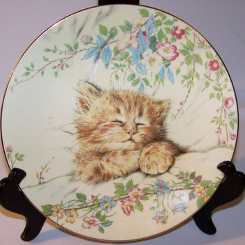 Vintage Cat Nap Bone China Collector Plate, Kitten Classics, Royal Worcester, Crown Ware, Made in England, the Hamilton Collection, 1985