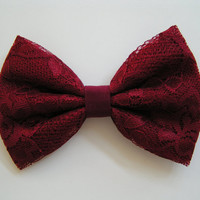 Hair Bow- Crimson Lace Hair Bow, kids hair bows, Teens, women, Fabric Bows, hair bow, Bow, Lace bow