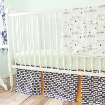 Aztec Baby Bedding | Navy Blue, Mint Crib Bedding Set
