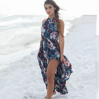 Halter Neck Floral Print Slit Maxi Dress