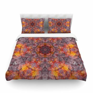 "Justyna Jaszke ""Mandala Orange Art"" Orange Black Abstract Pattern Digital Mixed Media Featherweight Duvet Cover"