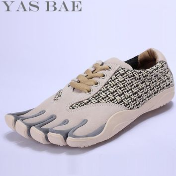 Sale Yas Bae Design Rubber Five Fingers Outdoor Slip Resistant Breathable Light Weight Lace Up Yellow Sneakers Shoes for Men