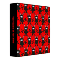 Red and Black Ninja Bunny Pattern Binders