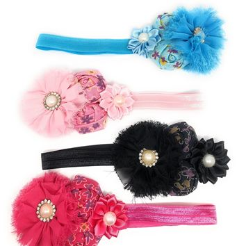 Girls Shabby Chic 4 Flowers Soft Elastic Headband