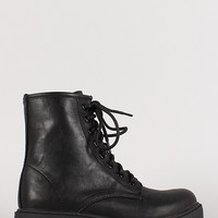 Leatherette Lug Sole Lace Up Military Boot