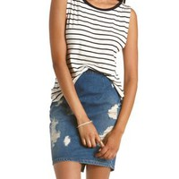 Ivory Combo Striped Cross-Back Tank Top by Charlotte Russe