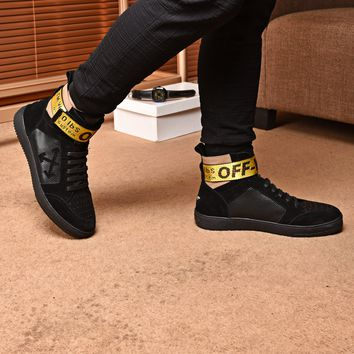OFF-WHITE C/O VIRGIL OW Men Fashion high top black Boots Casual Retro Sneakers Shoes 2019 Best Quality