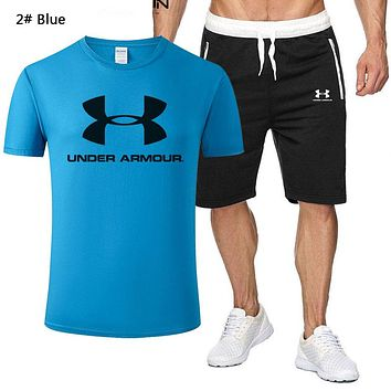 Under Armour Fashion New Letter Print Sports Leisure Top And Shorts Two Piece Suit Men 2# Blue