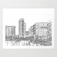 Clarence Dock Leeds Drawing Art Print by Karl Wilson Photography
