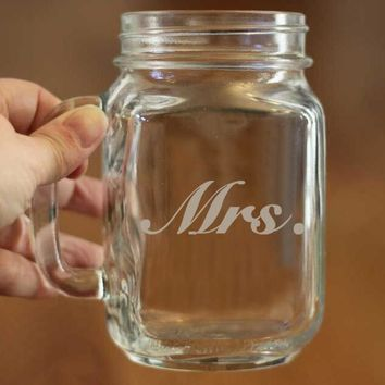 Mrs. Custom Mason Jars Storage Bottles & Jars Bulk Capacity Mason Jars with Handle New Hot Arrivals Best for Wedding Gifts Favor