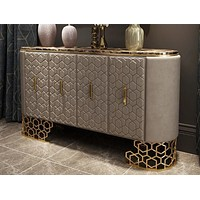 Silver Shine Leather Upholstered  Console Table