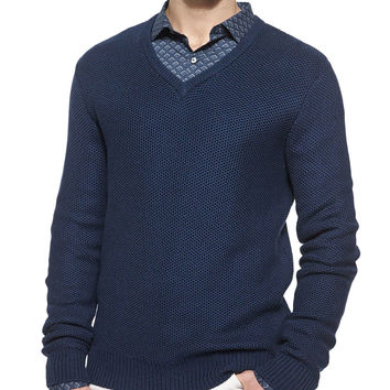 Tuckstitched V-Neck Sweater, Blue, Size: