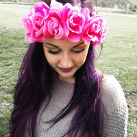 Pink Rose Boho Flower Crown Hippie Floral Headband Summer Women's Hair Accessories Coachella Music Festival Head Piece