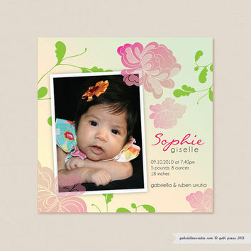 Sophie Baby Announcement  Set of 25 by gabipress on Etsy