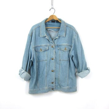 90s Light Wash Denim Jean Jacket Oversized Faded Button Down Jean Coat Pockets Hipster 1990s Baggy Denim Jacket Womens XL