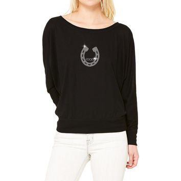 RHINESTONES   Lucky Horseshoe   Boat Neck T-Shirt. Made By Lucky Gambler.