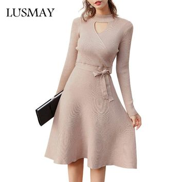 Long Sleeve Dresses Women 2018 Spring Autumn Elegant Fit And Flare Wrap Dress Knee Length Hollow Out Knitted Dress With Belt