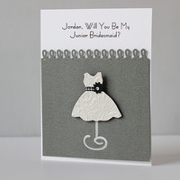 Customized name JUNIOR BRIDESMAID wedding party card, handmade paper goods for slate evening invitation girl niece, chic charcoal grey gown