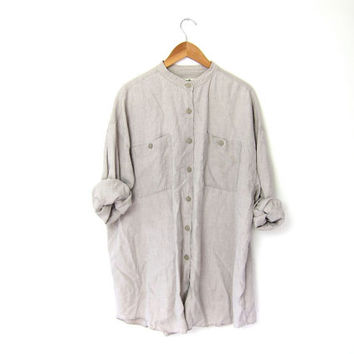 vintage linen shirt. button down collarless shirt. oversized slouchy shirt. oatmeal linen shirt. modern minimalist.