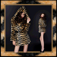 Retro Stripe Bengal Tiger Faux Fur Long Coat Jacket will keep you Beautifully Warm