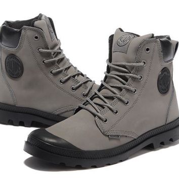 Palladium Pampa Cuff Wp Lux Men Martin Boots Leather Grey Black - Beauty Ticks